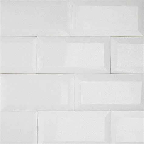 6 X 12 Beveled Subway Tile by Beveled Edge Subway Backsplash Tile White Gloss 3 Quot X6