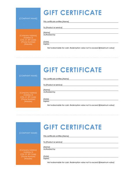 gift certificates templates  microsoft office