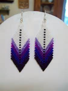 Native American Style Beaded Feather Earring Purples, Southwestern, Boho, Gypsy, Loom, Brick Stitch, Peyote, Great Gift Very light