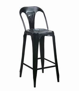 Tabouret De Bar Avec Dossier : tabouret de bar avec dossier en acier style industriel noir ~ Teatrodelosmanantiales.com Idées de Décoration