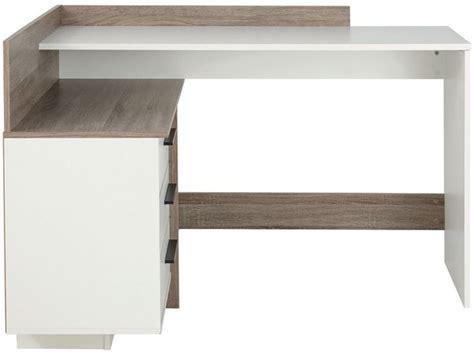 bureau angle conforama bureau d 39 angle thales coloris blanc et chêne foncé vente