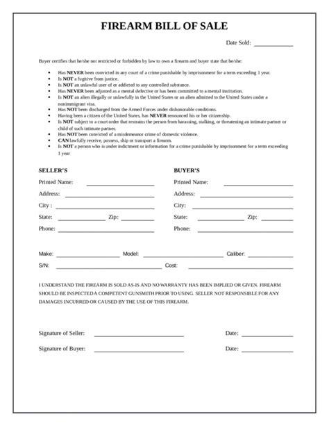 firearm forms canada bill firearm bill of sale form