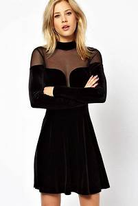 robe en velours noir mode femme pinterest With robe en velours noir