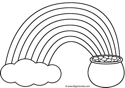 rainbow pot  gold  cloud coloring page st patricks day