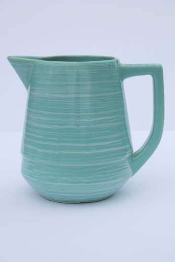 vintage esmond pottery milk pitcher turquoise blue green