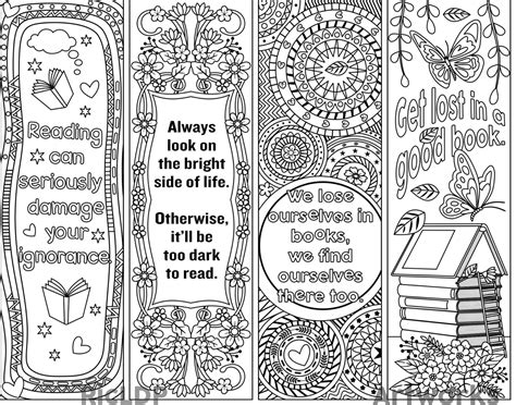 Set Of 4 Coloring Bookmarks With Quotes Plus The Colored