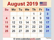 August 2019 Calendars for Word, Excel & PDF