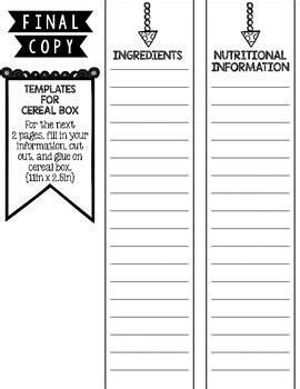 cereal box book report  kristina lovell teachers pay