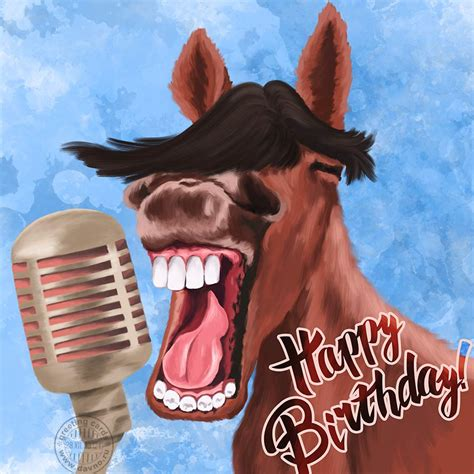 funny laughing horse birthday card   davno