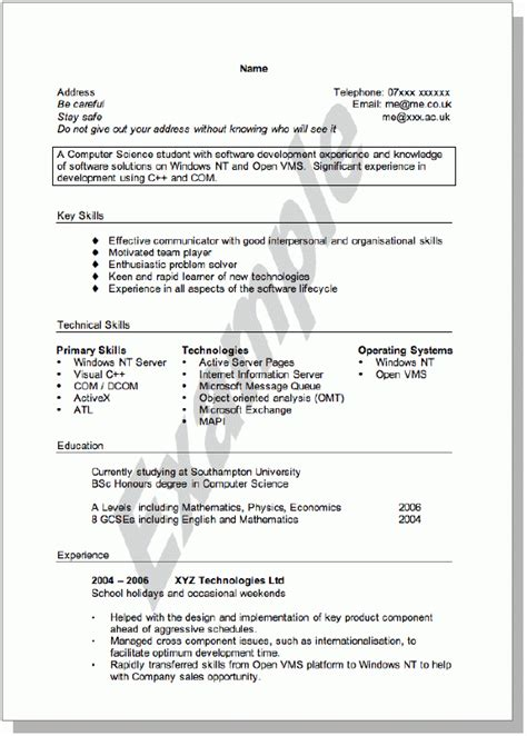 Cv Profile Exles Ireland by Cv Template Ireland Student