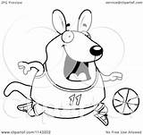 Wallaby Cartoon Kangaroo Playing Basketball Chubby Clipart Coloring Thoman Cory Outlined Vector 2021 sketch template