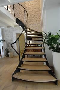Escalier Exterieur Metal : escalier escalier 1 4 tournant limon acier marche ch ne ~ Voncanada.com Idées de Décoration