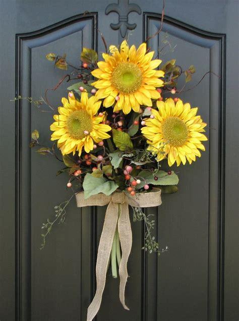 sunflower bouquet front door decor summer wreath summer front doors  front door wreaths