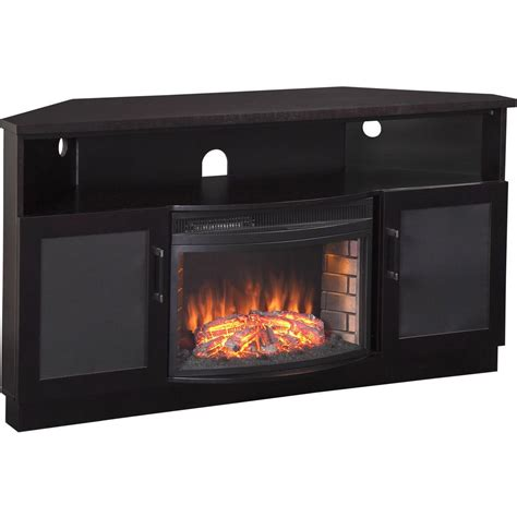 furnitech corner tv stand electric fireplace   tv ftcccfb modern electric fireplaces