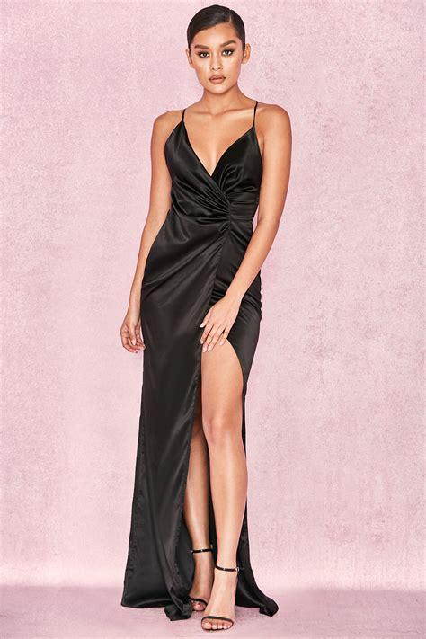 Draped Satin Dress - clothing max dresses fairuz black draped satin maxi gown