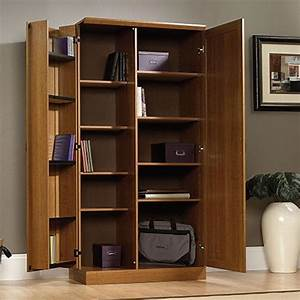 Rustic Home Office with White Oak Wood Storage Cabinet