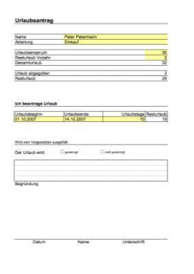 urlaubsantrag excel tabelle vorlage zum herunterladen