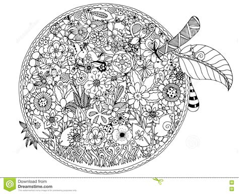 vector illustration zentnagl apple flowers doodle