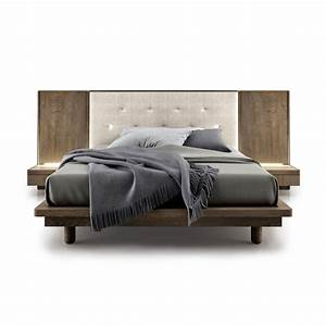 Surface Wooden Bed With Upholstered Tufted Headboard