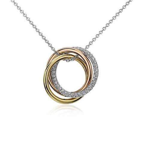 infinity trio diamond pendant   tri color gold