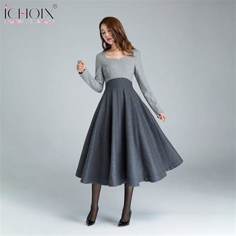 Ichoix 2018 Winter Formal Office Dress Women Elegant Long
