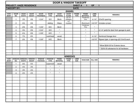 Material Takeoff Template by Framing Material Takeoff Sheet Framing Material Estimate