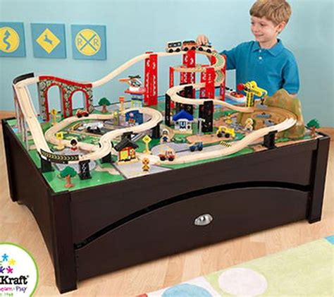 brio train table with drawers new 84 piece wooden toy train table set kidkraft