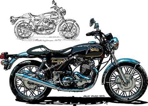 Norton Commando 850 Vintage Motorcycle Vector Art Print On