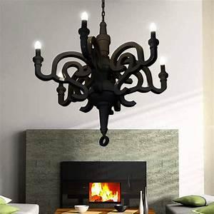 GaGa Lamp Design Kronleuchter Holz Schwarz 6x40 W E14