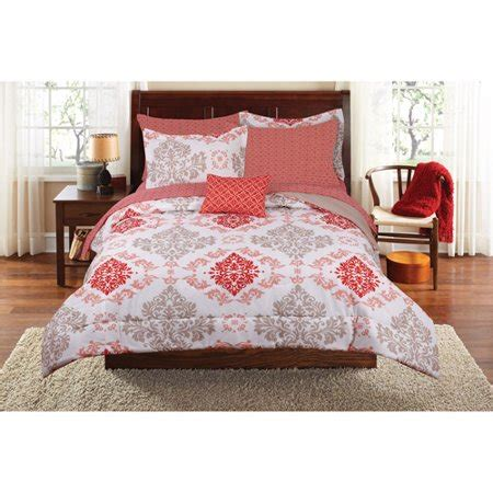walmart size comforters mainstays coral damask bed in a bag bedding set walmart