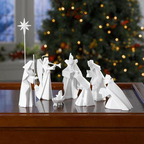 modern  piece origami nativity manger  white porcelain