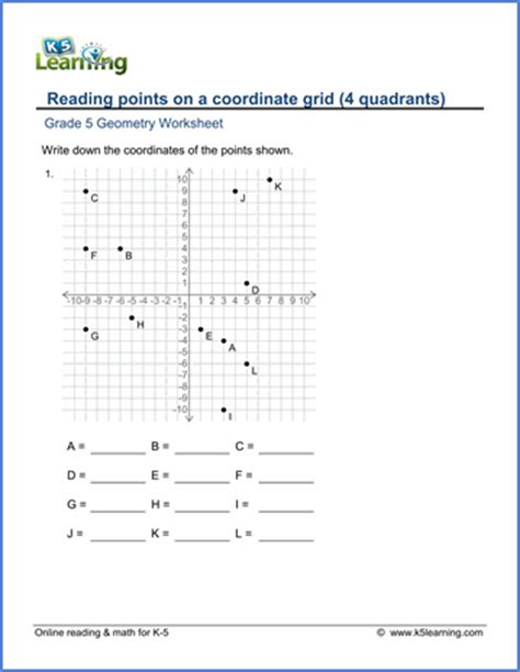 Grade 5 Geometry Worksheets Reading Points On A Coordinate Grid  K5 Learning