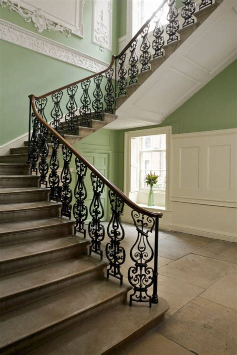 hall  stairs  farrow ball saxon green  clunch