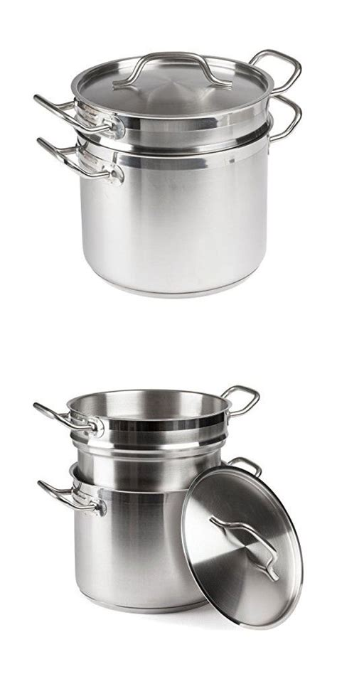 forthechef  qt stainless steel induction ready double boiler  cover double boiler