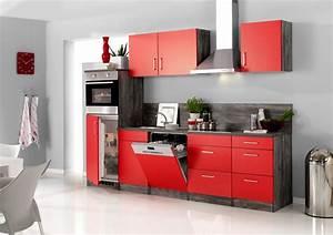 Küche 280 Cm : k chenzeile sevilla k che mit e ger ten breite 280 cm 15 teilig rot samtmatt eiche ~ Markanthonyermac.com Haus und Dekorationen