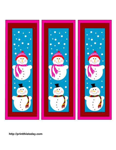 free winter bookmarks printable templates