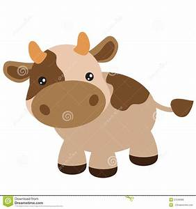 Cute Brown Cow Vector Illustration Stock Vector ...
