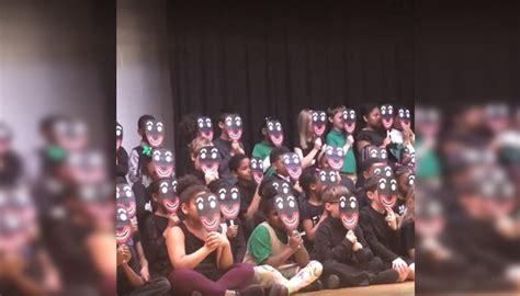 school  kids wear blackface masks  play newshub