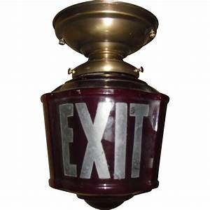 Exit Light Fixtures Ruby Red 3 Sided Exit Ceiling Light In Brass Fixture From