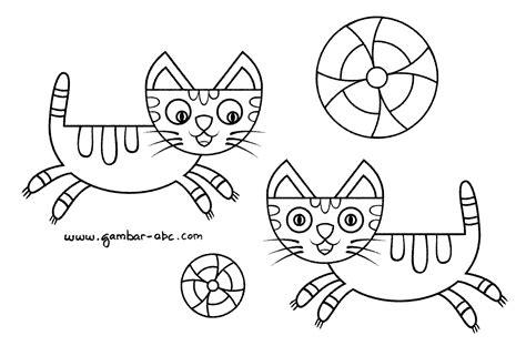 gambar mewarnai binatang kucing kartun lucu contoh