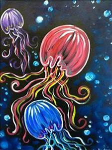 Neon paints octopus painting