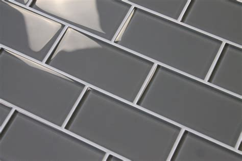 Pebble Gray 3x6 Glass Subway Tiles  Rocky Point Tile