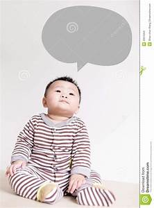 Cute Baby Thinking And Look Up Forward Stock Images ...