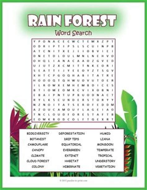 tropical rainforest word search puzzle activities