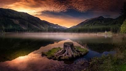 Water Mountains Reflection Lake Dusk Stump Wallpapers