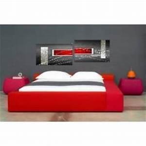 Tete De Lit Rouge : tableaux design rouge abstrait et modernes peints par ejrac ~ Teatrodelosmanantiales.com Idées de Décoration