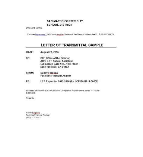 Letter Of Transmittal Template Letter Of Transmittal 40 Great Exles Templates