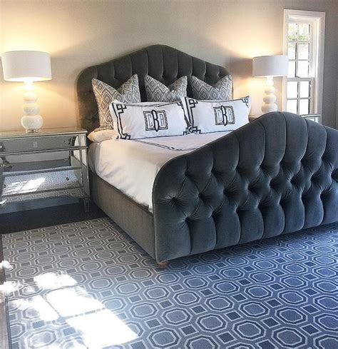 gray tufted bed gray velvet tufted bed with black and white monogrammed