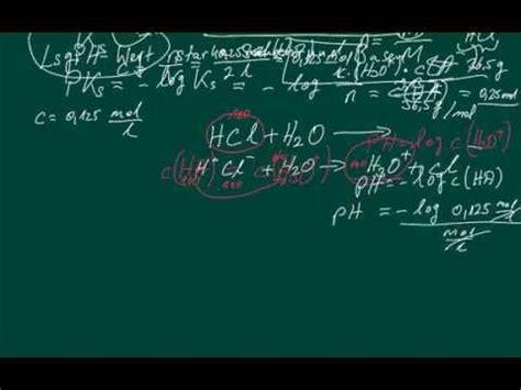 chemie ph wert starker saeuren berechnen youtube
