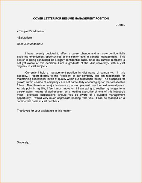 Cover Letter For Management Position by Cover Letter Exles For Manager Position Resume